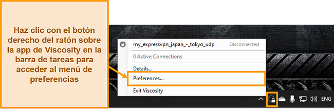 Captura de pantalla que muestra cómo abrir el menú de preferencias en Viscosidad a través del icono de la barra de herramientas