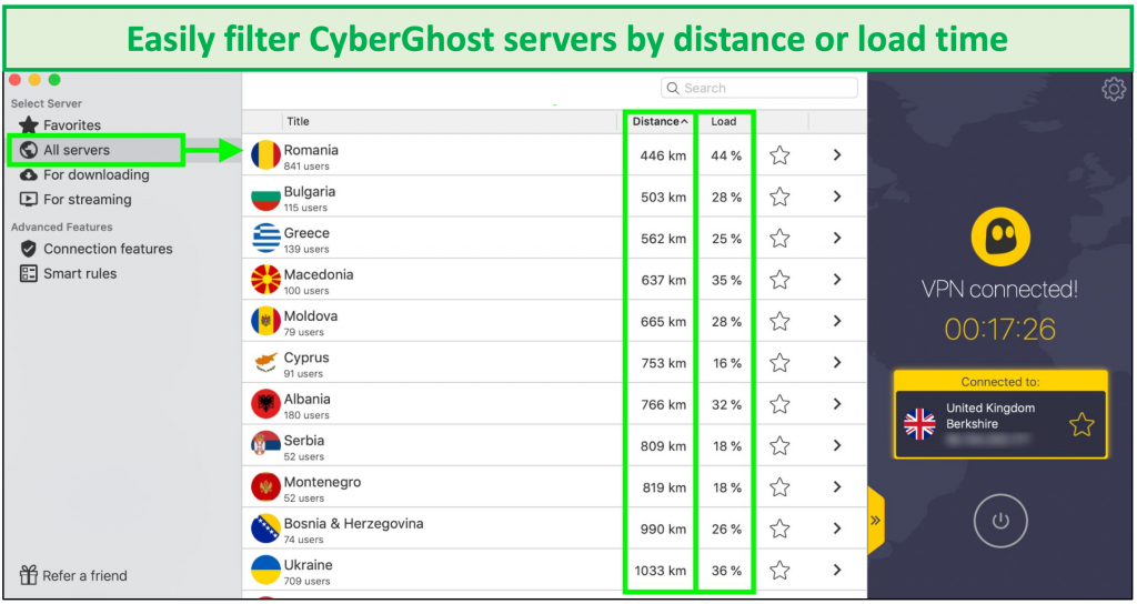 screenshot showing how to filter cyberghost servers by distance or load time