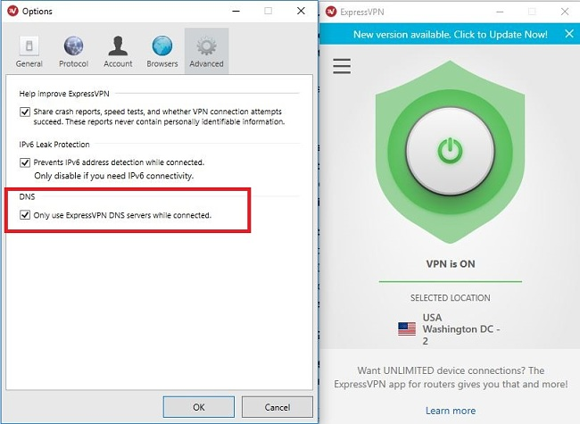 Capture d'écran du paramétrage des serveurs DNS ExpressVPN