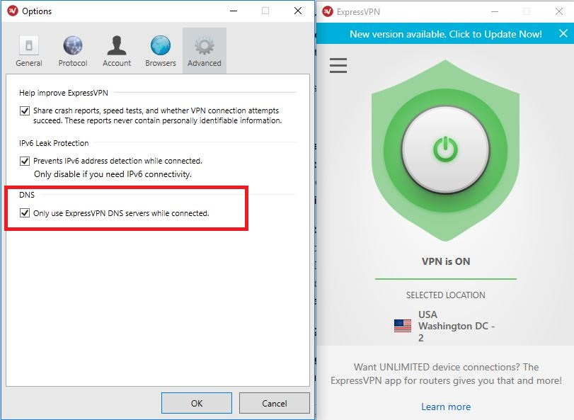 Screenshot of ExpressVPN DNS servers setting