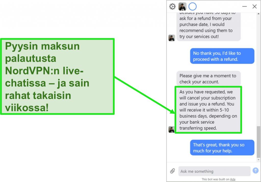 Näyttökuva asiakkaasta, joka pyytää hyvitystä ja 30 päivän rahanpalautustakuun NordVPN: n live-chatissa