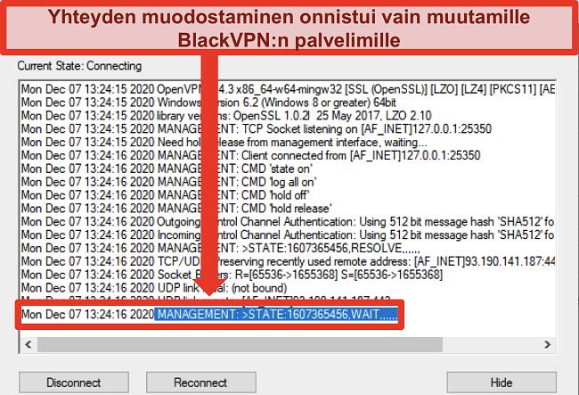 Näyttökuva BlackVPN: stä, joka yrittää muodostaa yhteyden palvelimeen OpenVPN-asiakasohjelman kautta