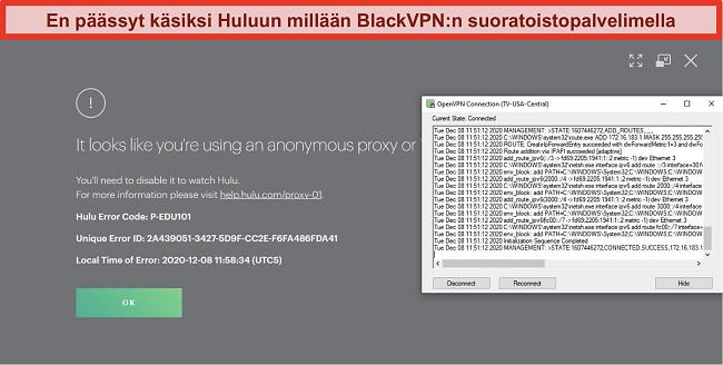 Näyttökuva Hulun välityspalvelimen IP-virheestä, kun BlackVPN on kytketty OpenVPN: n kautta