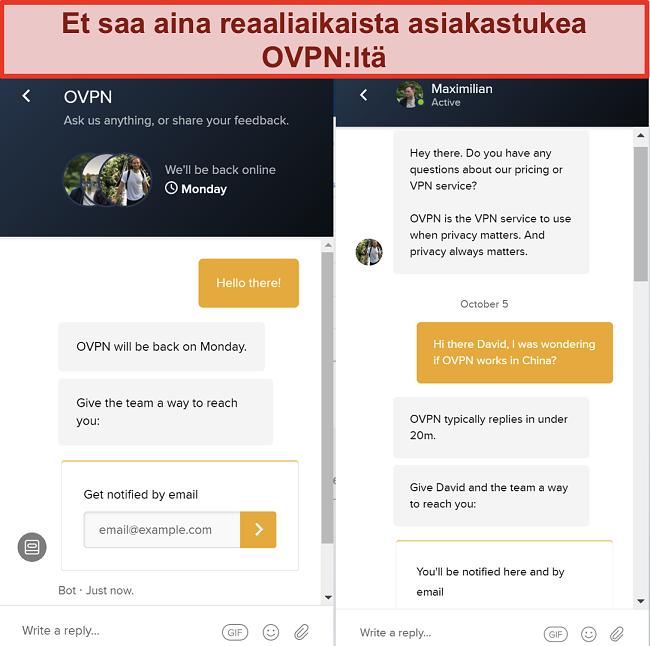Näyttökuva OVPN: n rajoitetusta live-chat-tuesta