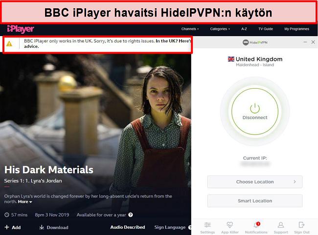 Näyttökuva BBC iPlayer -virheestä havaitessasi, ettet ole Isossa-Britanniassa.