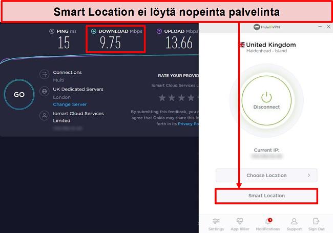 Näyttökuva nopeustestistä Smart Location -toiminnon avulla.