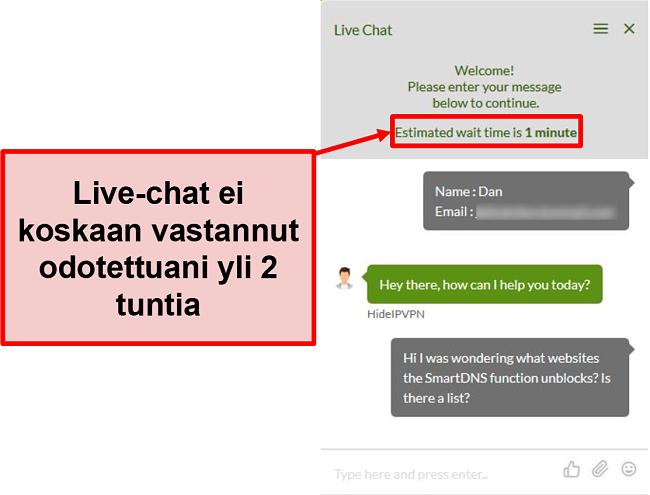 Näyttökuva HideIPVPN-live-chatista ei vastaa.