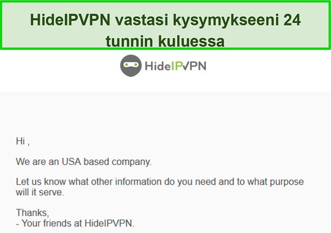 Näyttökuva HideIPVPN: n sähköpostitukesta.
