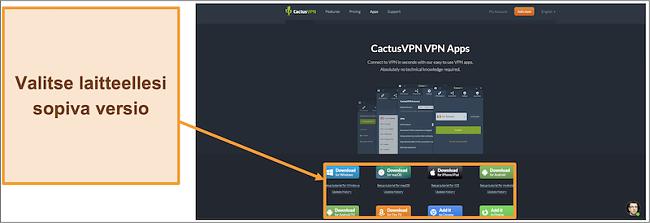 Näyttökuva, josta näkyy haluamasi CactusVPN-version lataaminen sen verkkosivustolta