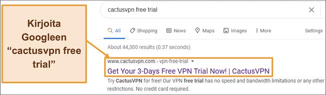 Näyttökuva, joka näyttää kuinka löytää ilmainen CactusVPN-kokeiluversio Googlesta