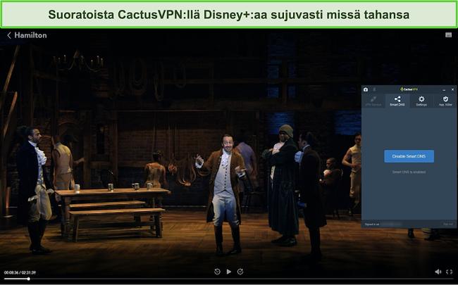 Näyttökuva Hamilton-suoratoistosta onnistuneesti Disney + -palvelussa, kun CactusVPN on kytketty
