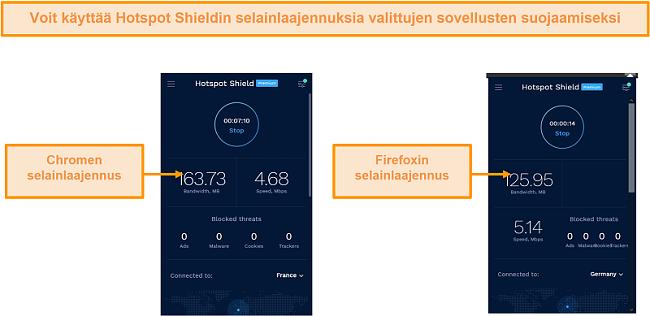 Näyttökuva Hotspot Shieldin selainlaajennuksista Chromelle ja Firefoxille.
