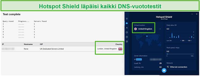 Näyttökuva Hotspot Shieldistä, joka läpäisee DNS-testin ollessaan yhteydessä Ison-Britannian palvelimeen.