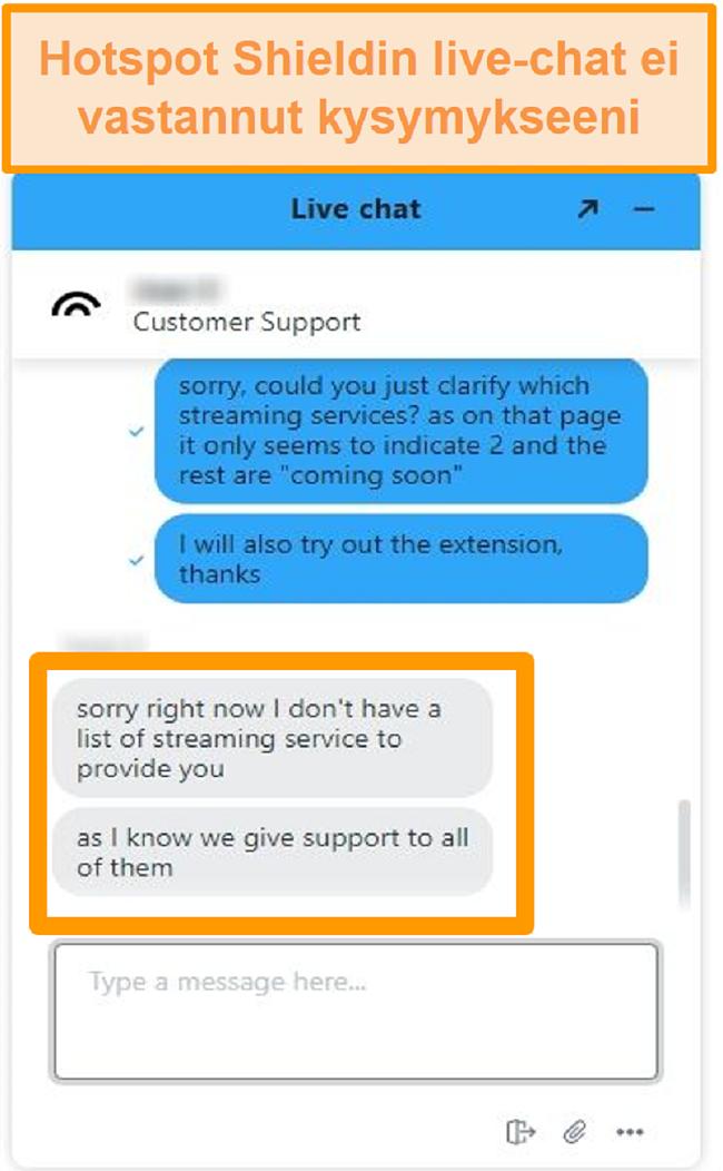 Näyttökuva Hotspot Shield -liven chat-agentista, joka ei pysty vastaamaan kysymykseeni