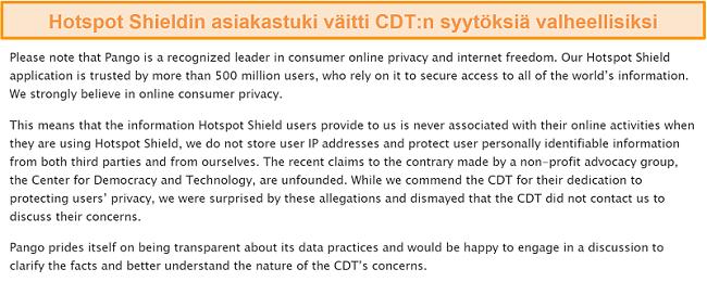 Näyttökuva Hotspot Shieldin sähköpostivastauksesta, kun sitä kysyttiin vuoden 2017 tapahtumasta, johon CDT teki valituksen FTC: lle Hotspot Shieldin tiedonkeruutavoista.