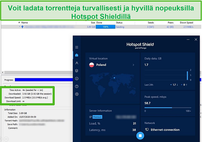 Näyttökuva yhteyden muodostamisesta Hotspot Shieldiin samalla kun torrentit 4GB-tiedostoa alle 4 minuutissa.