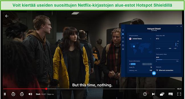 Näyttökuva Hotspot Shieldistä, joka vapauttaa Netflixin ja suoratoistaa Darkia.