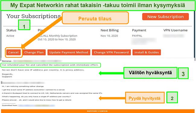 Näyttökuva My Expat Network -hyvitysprosessista