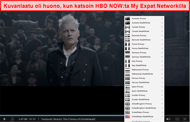 Näyttökuva My Expat Network -verkoston estosta HBO NYT