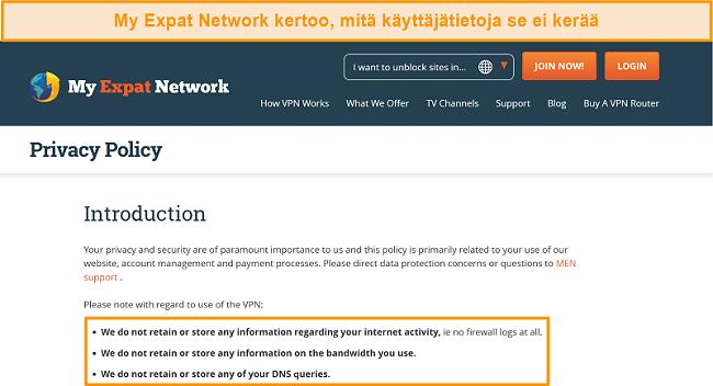 Näyttökuva My Expat Network -tietosuojakäytännöstä