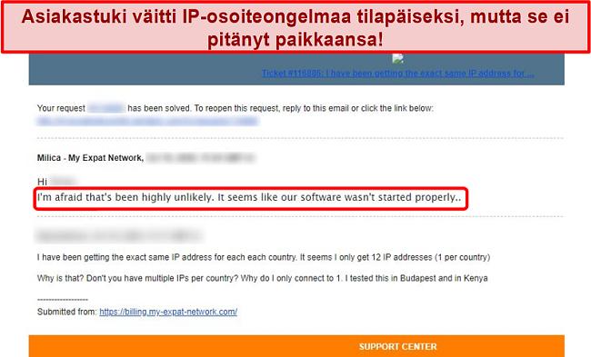 Näyttökuva My Expat Network -sähköpostivastauksesta, jossa selitetään IP-osoiteongelma