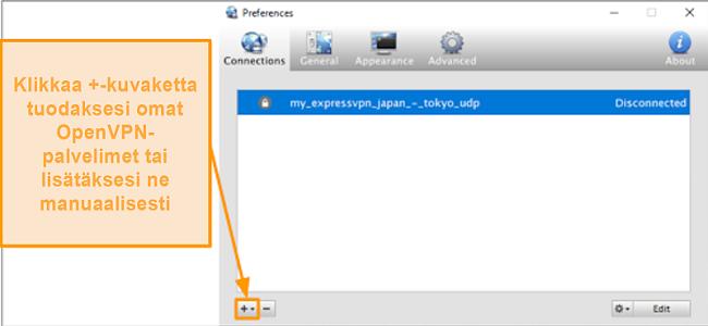 Näyttökuva Viscosity-sovelluksesta, joka näyttää kuinka lisätä OpenVPN-palvelimia
