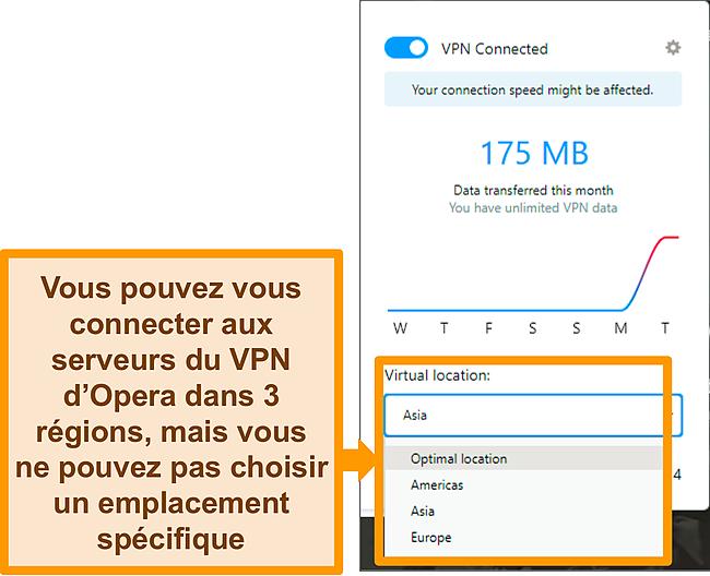 Capture d'écran du menu d'emplacement virtuel d'Opera VPN.