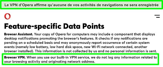 Capture d'écran de la politique de confidentialité d'Opera montrant que le VPN n'enregistre pas les journaux.