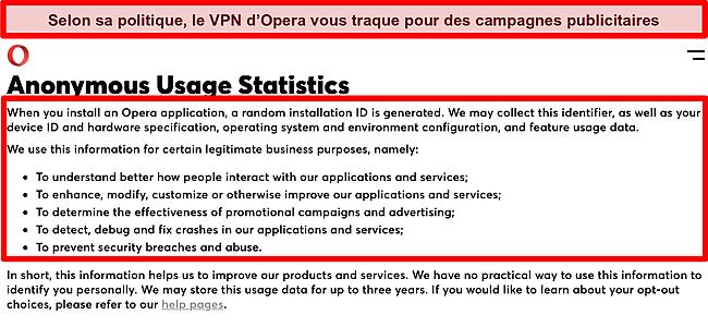 Capture d'écran de la politique de confidentialité d'Opera VPN