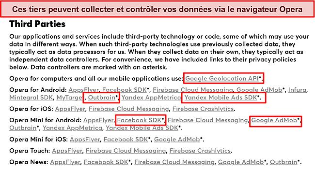 Capture d'écran de la politique de confidentialité d'Opera divulguant la collecte de données par des tiers.