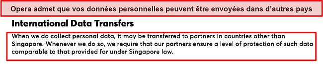 Capture d'écran de la politique d'Opera sur les transferts de données internationaux.