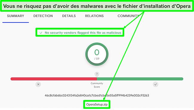Capture d'écran d'une analyse de malware ne montrant aucun virus trouvé sur le fichier d'installation d'Opera.