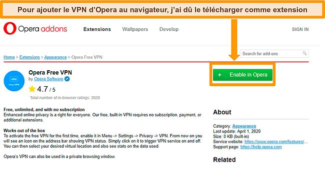 Capture d'écran du site Web du module complémentaire Opera VPN.