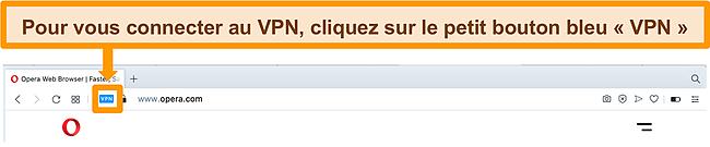 Capture d'écran de la barre de recherche Opera VPN.