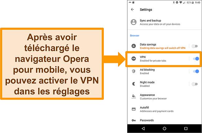Capture d'écran du menu des paramètres du navigateur Android Opera montrant l'option VPN activée.