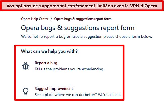 Capture d'écran de la page de rapport de bogue et de suggestion en ligne d'Opera VPN.