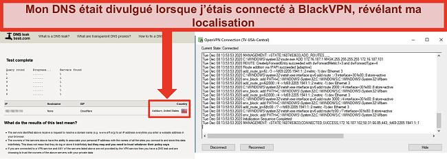 Capture d'écran d'un test de fuite DNS échoué alors que BlackVPN est connecté à un serveur aux États-Unis