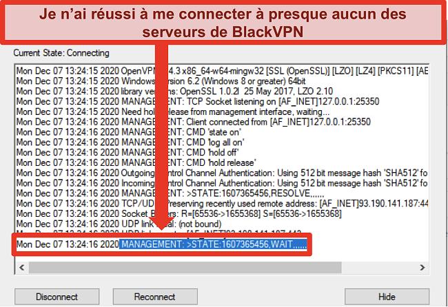 Capture d'écran de BlackVPN essayant de se connecter à un serveur via le client OpenVPN