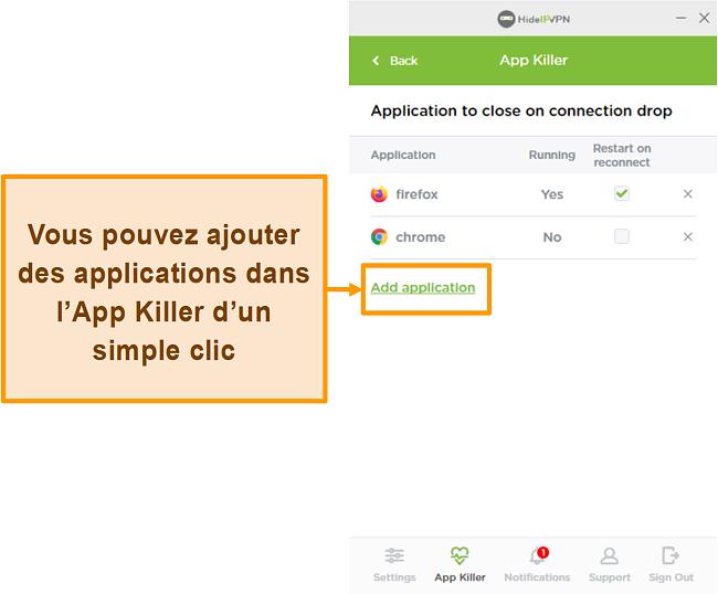 Capture d'écran de HideIPVPN Application Killer.