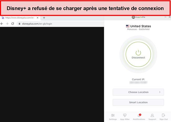 Capture d'écran de HideIPVPN ne parvient pas à accéder à Disney +.