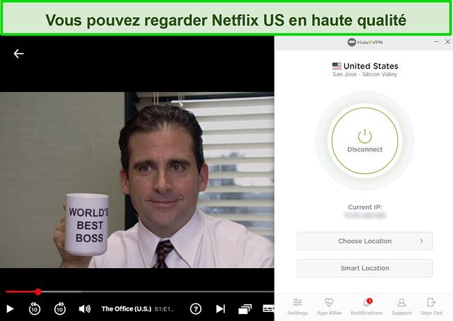 Capture d'écran de HideIPVPN débloquant US Netflix, diffusant The Office (États-Unis).