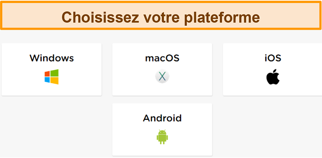 Capture d'écran du processus de création de compte de HideIPVPN, où vous devez choisir la plate-forme souhaitée.