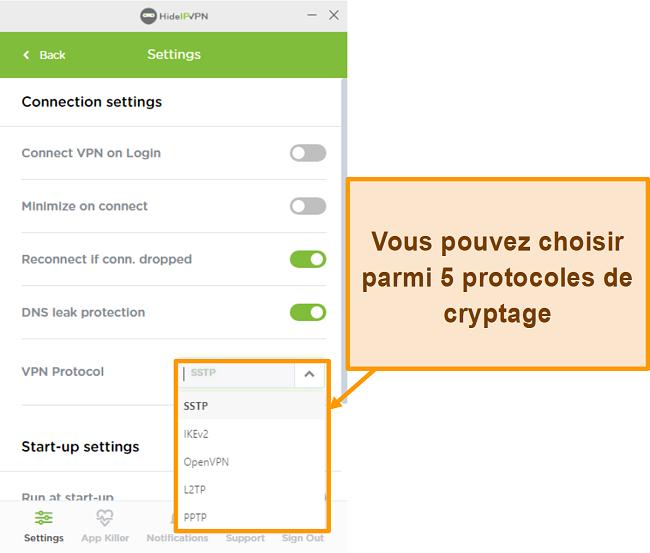 Capture d'écran des protocoles de cryptage HideIPVPN.