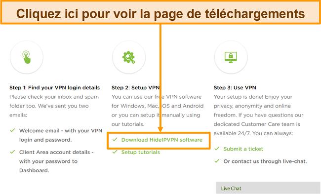 Capture d'écran du processus de création de compte de HideIPVPN, où vous devez cliquer sur