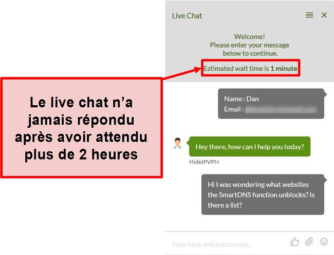 Capture d'écran du chat en direct HideIPVPN ne répondant pas.