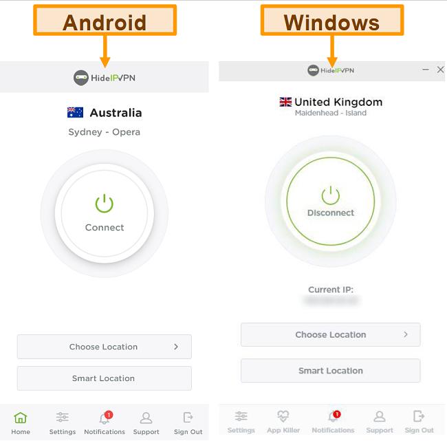 Capture d'écran des applications de bureau et mobiles de HideIPVPN.