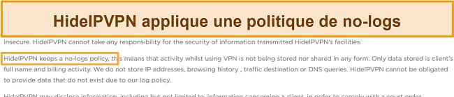 Capture d'écran de la politique de non-journalisation de HideIPVPN.