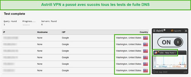 Capture d'écran d'Astrill VPN réussissant les tests de fuite DNS.