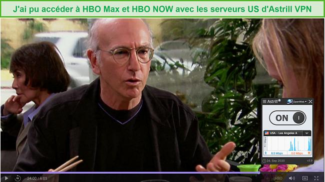 Capture d'écran d'Astrill VPN débloquant Curb Your Enthusiasm sur HBO Max.