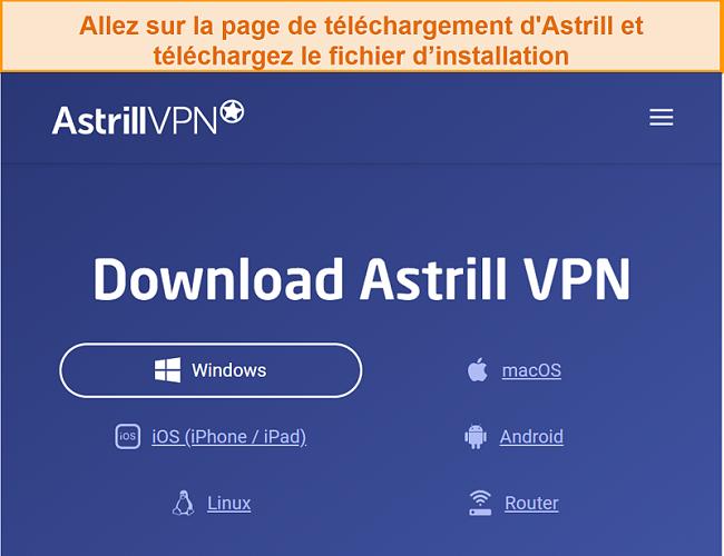 Capture d'écran de la page de téléchargement d'Astrill VPN.
